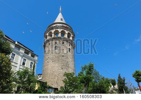 ISTANBUL TURKEY - MAY 20 2016 - tourists in galata tower in Istanbul Turkey. More than 32 million tourists visit Turkey each year.