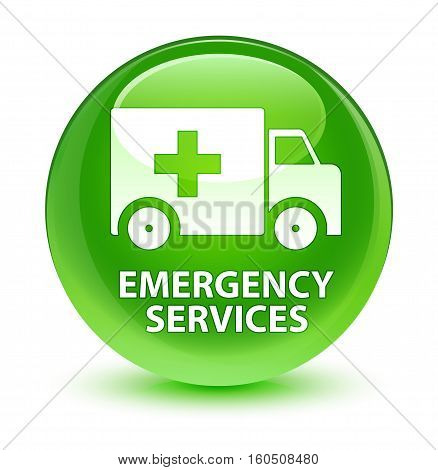 Emergency Services Glassy Green Round Button