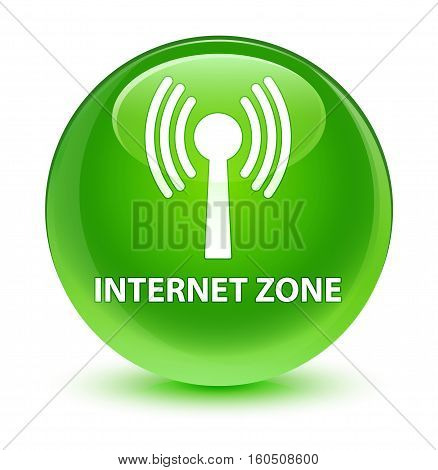 Internet Zone (wlan Network) Glassy Green Round Button