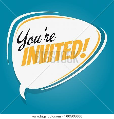 you're invited retro speech balloon