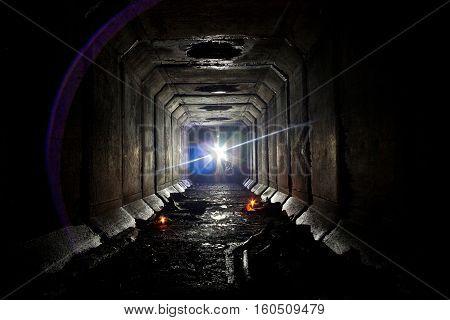 Underground abandoned sewer collector tunnel under Voronezh