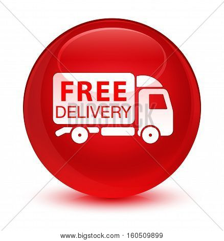 Free Delivery Truck Icon Glassy Red Round Button