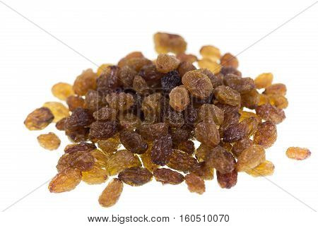 Dried sultana grapes isolated on white background.