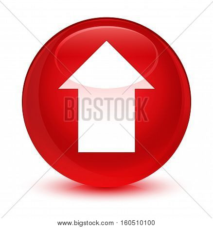 Upload Arrow Icon Glassy Red Round Button