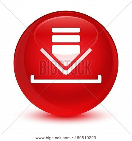 Download Icon Glassy Red Round Button