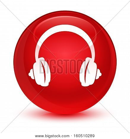 Headphone Icon Glassy Red Round Button