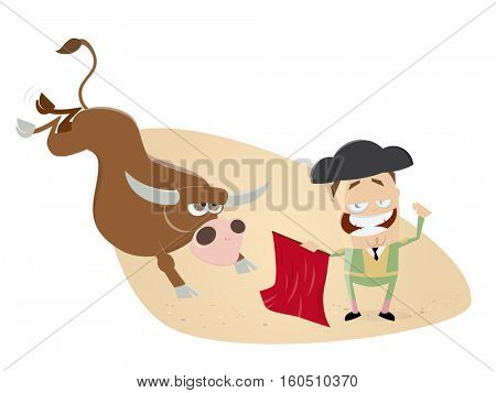funny clipart of matador and angry bull