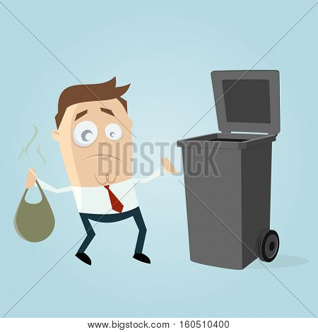 clipart of an unhappy man taking out the rubbish