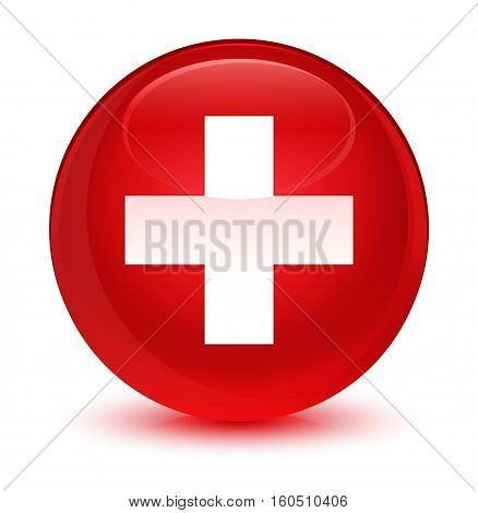 Plus icon isolated on abstract glassy red round button