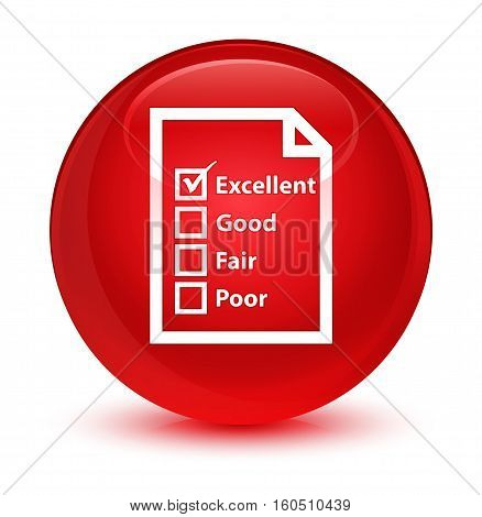 Questionnaire Icon Glassy Red Round Button