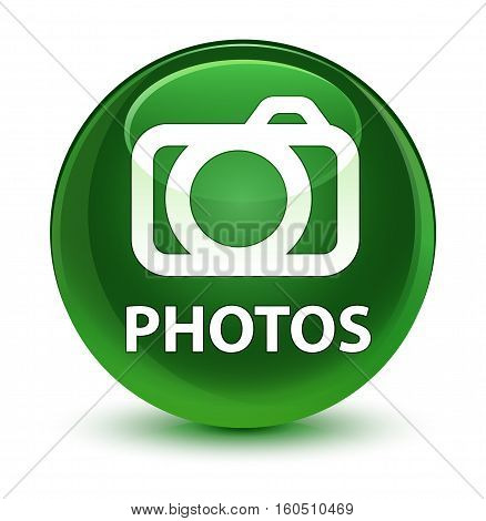 Photos (camera Icon) Glassy Soft Green Round Button