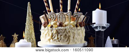 Happy New Year White Chocolate Cake Social Media Banner