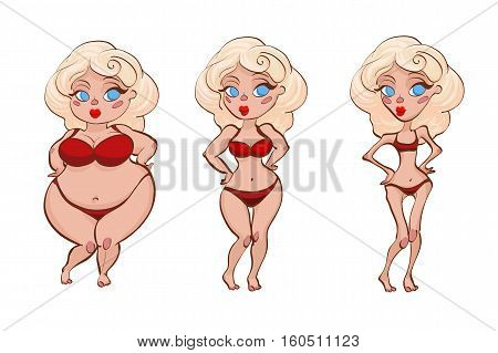 Three women. Fat, normal and thin. As a vector illustration
