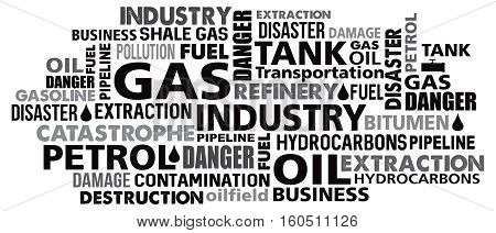 gas petrol industry word cloud vector illustration mix of words synonyms in black
