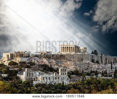 Parthenon Temple on Athenian Acropolis bathed in the Light of Gods Athens Greece