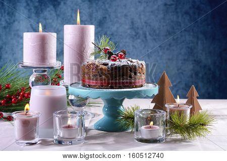 Festive Holiday Table With English Style Christmas Fruit Cake