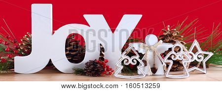 Joy Christmas Decorations Social Media Banner