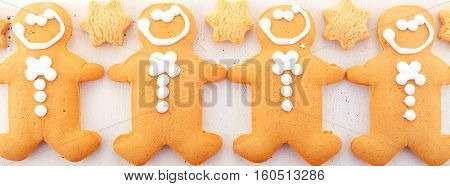 Festive Christmas Gingerbread Men Social Media Banner