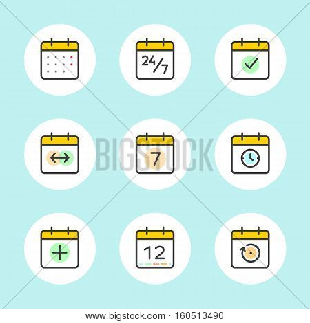 Calendar Icons Vector Set. Time and Seasons Simple Contour Line Style Signs. Vector Symbols of Diary, Organiser, Calender, Week, Months, Year, Date Pictogram Outline Icon on blue color background
