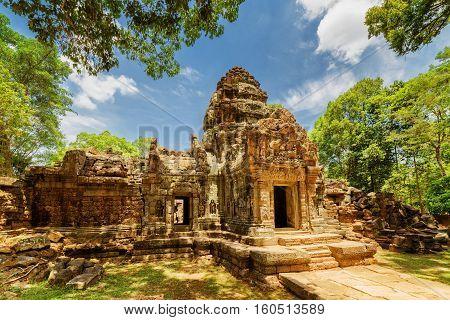Ancient Gopura Of Ta Som Temple In Angkor, Siem Reap, Cambodia
