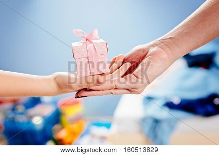 Little Child Giving Present.