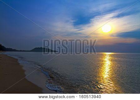 Sunrise and wave at Ban Krut Beach Prachuap Khirikhun Province Thailand