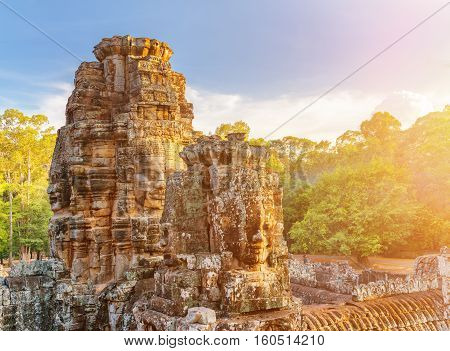 Enigmatic Face-towers Of Bayon Temple In Angkor Thom, Cambodia