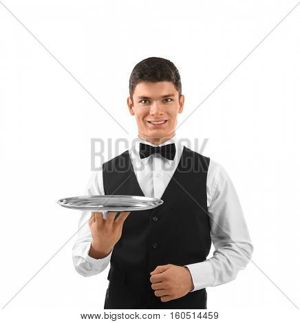 Male waiter holding tray on white background