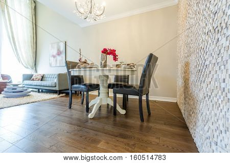 Modern living room interior and dinning set