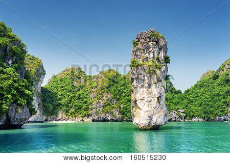 Amazing Rock Pillar And Azure Water In The Ha Long Bay, Vietnam