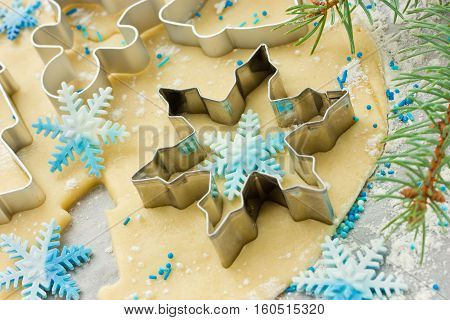 Metal shape snowflake for cookies shortbread dough and snowflakes from confectionery mastic