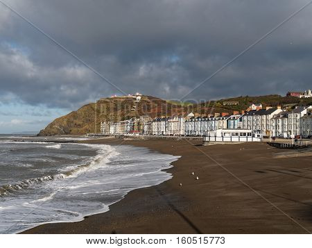 Beach and promenade at Aberystwyth Ceredigion in Wales UK.