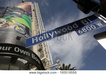 HOLLYWOOD, WEDNESDAY, NOVEMBER 16, 2016: A street sign noting Hollywood Boulevard.