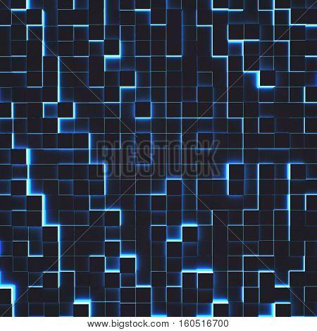 Modern illuminated with blue light cubes hi-tech 3D rendering backgrounnd.