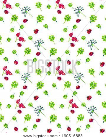 Scalable vectorial image representing a clover and ladybird seamless pattern, isolated on white.