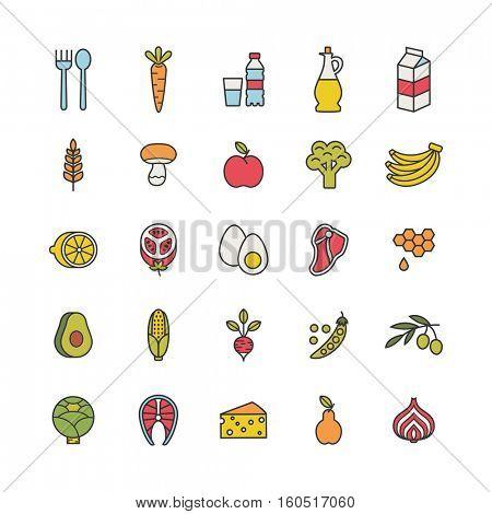 set of minimalistic food icons
