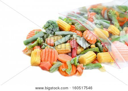 Frozen vegetable mix on white background