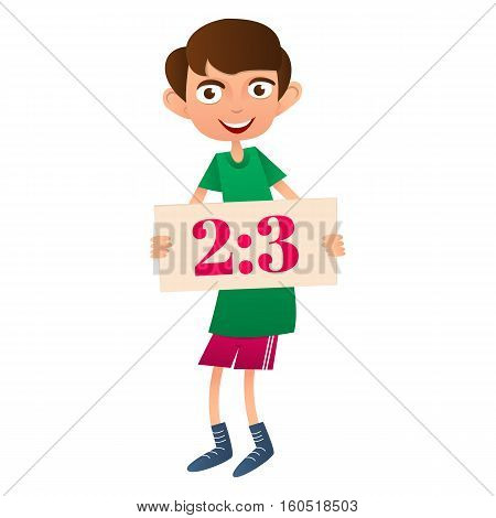 Teen boy holding poster. Account sports game
