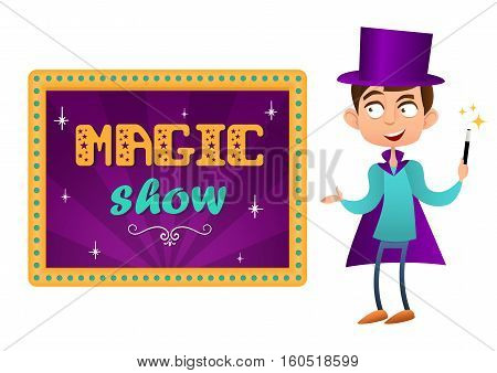 Magical show. The boy magician with hat and magic wand. Lettering