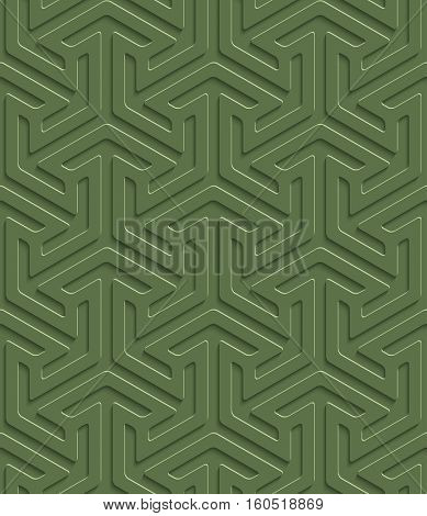 3D Seamless Pattern in Kale Color. Neutral Tileable Vector Background for Material Design. Kale color is Pantone color of 2017 year.