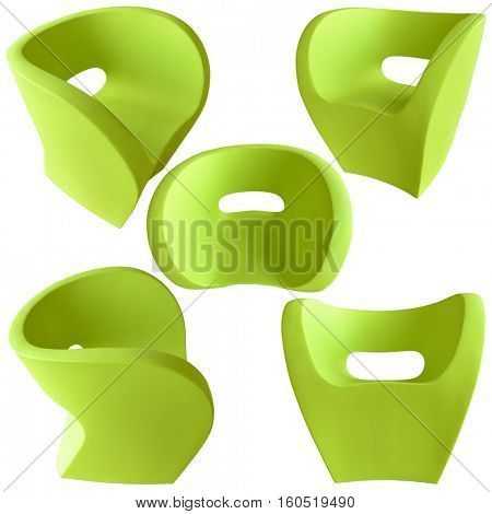 A colorful ultra modern designer chair with various angles on white background.