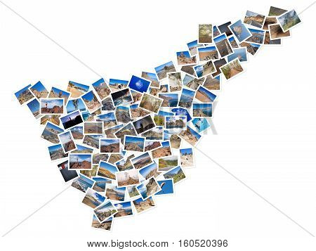 A collage of my best travel photos of Tenerife forming the shape of Tenerife island version 2.