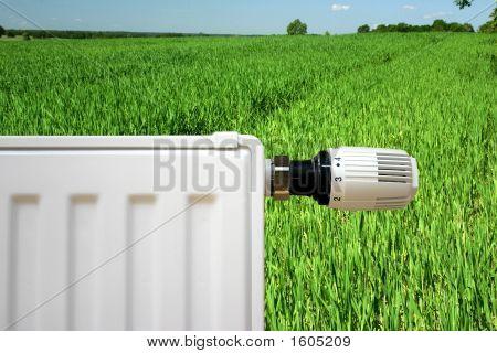 Radiator On A Green Field