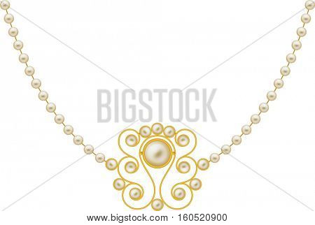 Pearl Gold Jewellery Necklace Vector Illustration