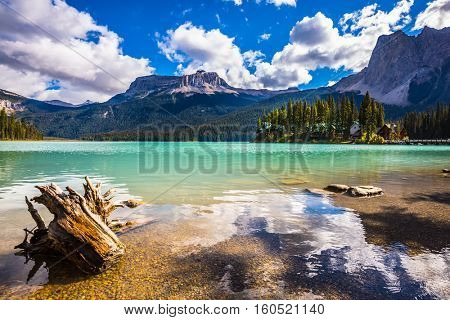 The concept of eco-tourism and active recreation. Yoho National Park in Canada. Mountain Emerald lake in the wooded mountains. Sunny day in autumn