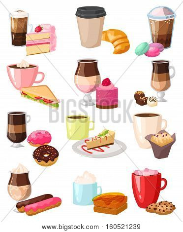 Cake with fresh strawberries, cream and coffee snack. Caffeine cappuccino and chocolate gourmet baked french bread. Fresh dessert morning tasty cookies vector illustration.