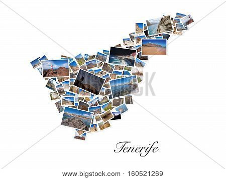 A collage of my best travel photos of Tenerife forming the shape of Tenerife island version 6.