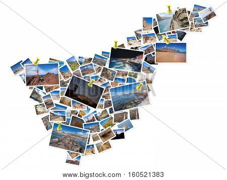 A collage of my best travel photos of Tenerife forming the shape of Tenerife island. Yellow pushpin showing the locations of most famous Tenerife Landmarks. Version 5.