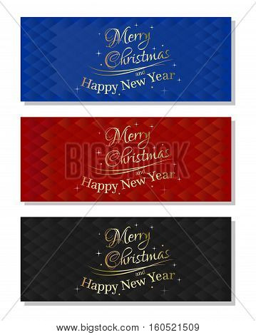 Set of abstract vector multicolored christmassy backgrounds. Merry Christmas and Happy New Year. Vector illustration