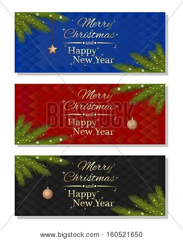 Set multicolored christmassy backgrounds. Merry Christmas and Happy New Year. Vector illustration